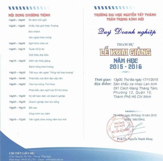 Momcare24h dự lễ khai giảng trường ĐH Nguyễn Tất Thành