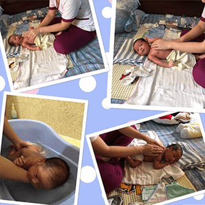 Chị Trang sử dụng gói dịch vụ Massage & Tắm Bé