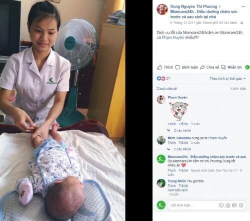 Chị Dung Nguyen Thi Phuong sử dụng dịch vụ chăm sóc trẻ sơ sinh tại nhà