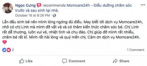 Cảm nhận của Lê Hồ Song Ngọc sau khi sử dụng dịch vụ Chăm sóc Bé sau sinh