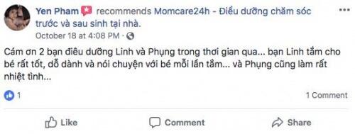 Cảm nhận của Phạm Thị Ngọc Yến sau khi sử dụng dịch vụ Chăm sóc Bé sau sinh
