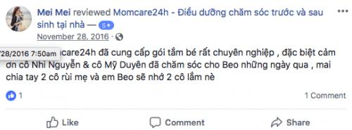 Cảm nhận Của  Mei Mei sau khi sử dụng dịch vụ Chăm sóc Bé sau sinh