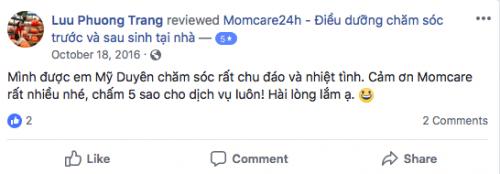 Cảm nhận của Lưu Phương Trang sau khi sử dụng dịch vụ Chăm sóc Bé sau sinh