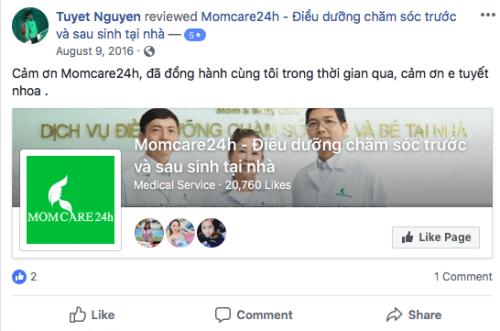 Cảm nhận của Tuyet Nguyen sau khi sử dụng dịch vụ Chăm sóc Bé sau sinh