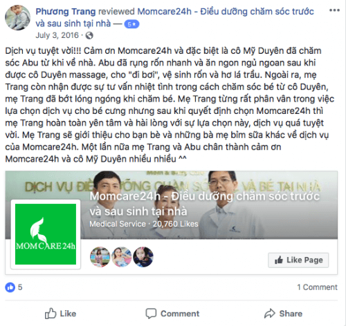 Cảm nhận của Phương Trang sau khi sử dụng dịch vu Tắm Bé và Massage Bé