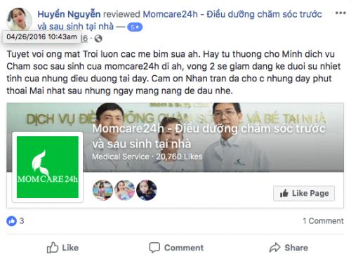 Cảm nhận của Chị Huyền Nguyễn sau khi sử dụng dịch vụ tại Momcare24h