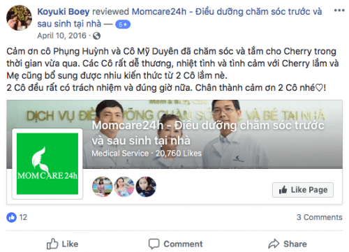 Cảm nhận của Chị Koyuki Boey sau khi sử dụng dịch vụ tại Momcare24h