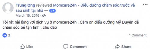 Cảm nhận của Trung Ong sau khi sử dụng dịch vu Momcare24h