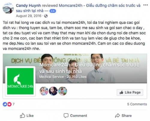 Cảm nhận của Candy Huynh sau khi sử dụng dịch vụ Chăm sóc Mẹ và Bé