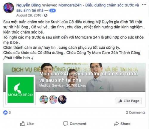 Cảm nhận của Nguyễn Bông sau kjhi sử dụng dịch vụ Tắm Bé