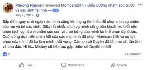 Cảm nhận của Nguyễn Phương sau khi sử dụng dịch vụ Chăm sóc Mẹ và Bé