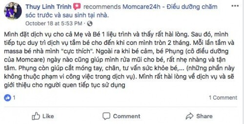 Cảm nhận của Chị Thuy Linh Trinh sau khi sử dụng dịch vụ Tắm Bé