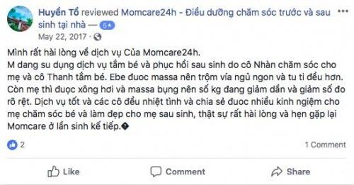 Cảm nhận của Chị Đặng Thị Huyền sau khi sử dụng dịch vụ tại Momcare24h