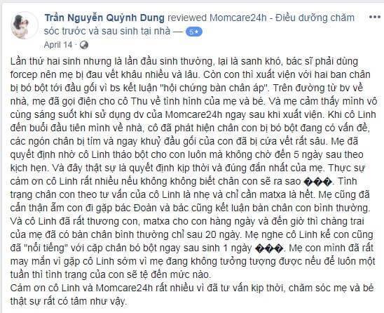 Cảm nhận của Trần Nguyễn Quỳnh Dung sau khi sử dụng dịch vụ Chăm sóc Bé