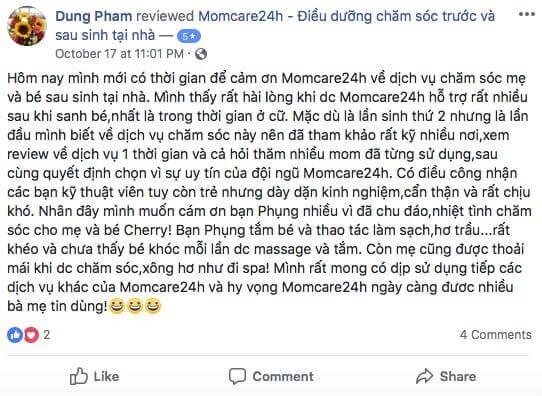 Cảm nhận của Phạm Ngọc Thùy Dung sau khi sử dụng dịch vụ Chăm sóc Mẹ và Bé