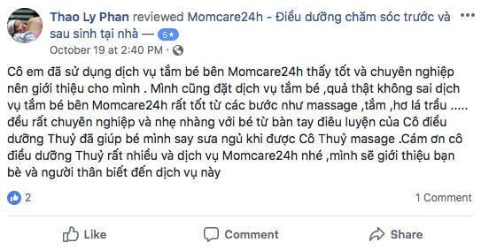 Cảm Nhận của chị Phan Thị Thảo Ly sau khi sử dụng dịch vụ Tắm bé và massage