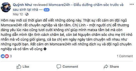 Cảm nhận của Chị Nguyễn Phạm Quỳnh Như sau khi sử dụng dịch vụ chăm sóc bé