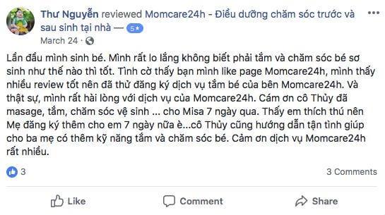 Cảm nhận của Nguyen Thuy Anh Thu sau khi sử dụng dịch vụ Tắm bé và massage