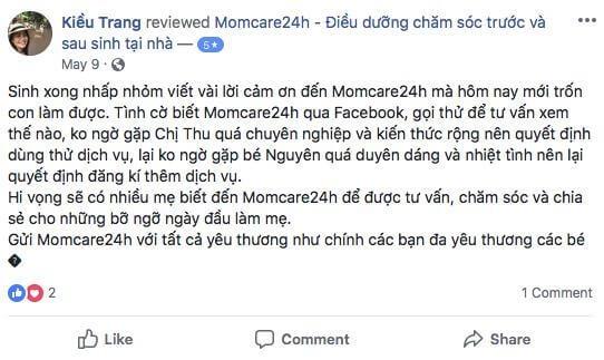 Cảm nhận của Nguyễn Thị Kiều Trang sau khi sử dụng dịch vụ Tắm Bé Và Chăm sóc Bé