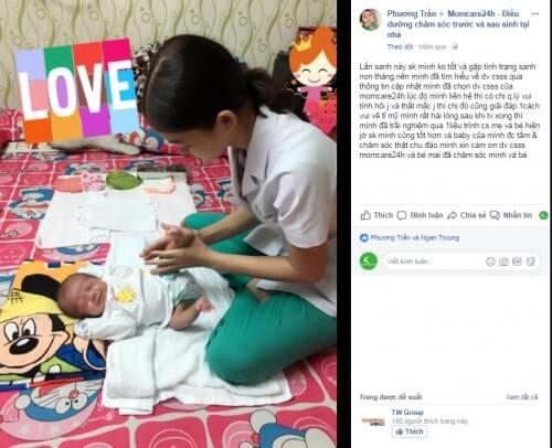 Chị Phương Trần sử dụng dịch vụ chăm sóc mẹ và bé sau sinh